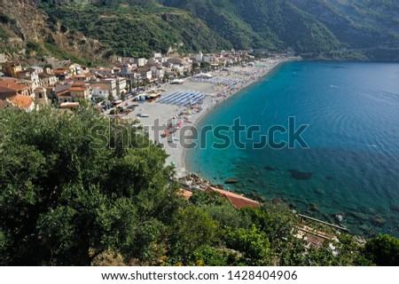 Scilla, province of Reggio Calabria, Calabria, Italy, view of the beach of Marina Grande #1428404906