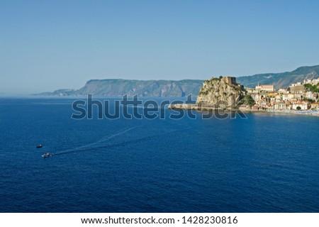 Scilla, province of Reggio Calabria, Calabria, Italy, view of the village, in the background the Costa Viola #1428230816