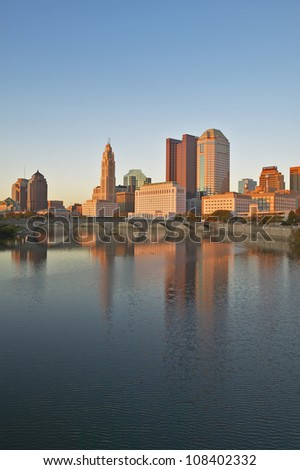 Scioto River and Columbus Ohio skyline - stock photo