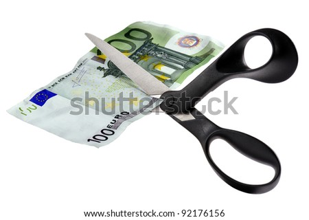 scissor cut euro banknotes, isolated on white