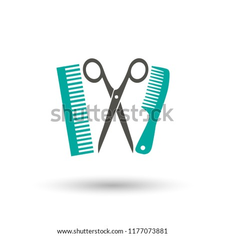 Scissors and comp icons. Barbershop Icon. Barbershop Icon Flat. Shapes of scissors and comb isolated on white background.  illustration.