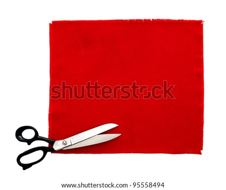 Scissors and fabric swatch, isolated - stock photo
