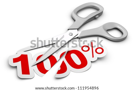 scissors and 100 percent label cut in two parts, symbol of discount