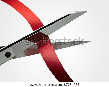 Scissors and ribbon (CLIPPING PATH )
