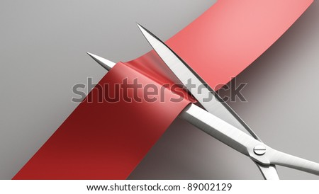 Scissors cut the red ribbon closeup. High resolution. 3D image - stock photo