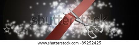Scissors cut the red ribbon closeup  High resolution. 3D image