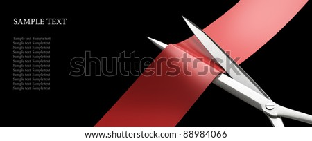 Scissors cut the red ribbon closeup isolated on black. High resolution. 3D image