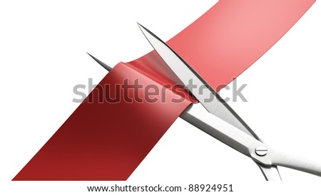Scissors cut the red ribbon closeup isolated on white. High resolution. 3D image