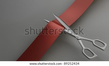 Scissors cut the ribbon closeup. High resolution. 3D image