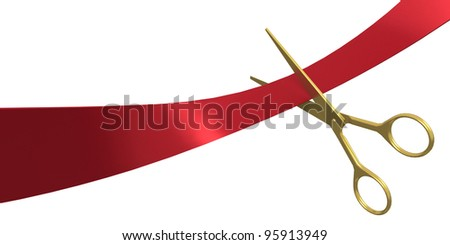 Scissors cut the ribbon, isolated on white