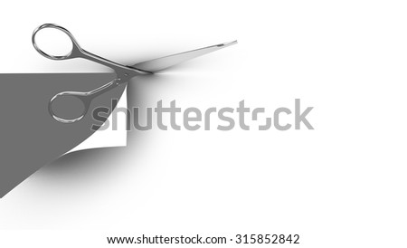 Scissors cutting a paper sheet in two parts. Gray background. 3d render.