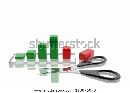 Scissors cutting income graph - stock photo