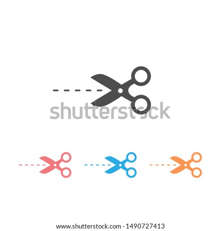 Scissors icon set in trendy flat style. Scissors icon page symbol for your web site design. Scissors icon illustration