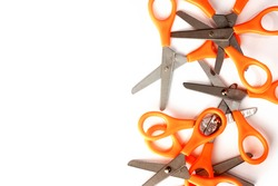 Scissors on side isolate with white background.