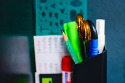 Scissors, pencil, ruler. Office supplies, close-up.