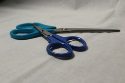 scissors, sharp scissors, blue scissors.