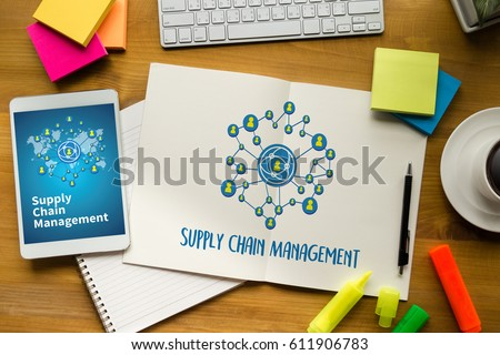 SCM Supply Chain Management concept Modern people doing business, graphs and charts being demonstrated