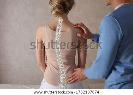 Scoliosis Spine Curve Anatomy, Posture Correction. Chiropractic treatment, Back pain relief. Foto stock ©