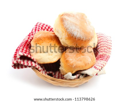 Scones in the basket isolated on white
