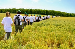 Scool class on summer excursion in countryside fields