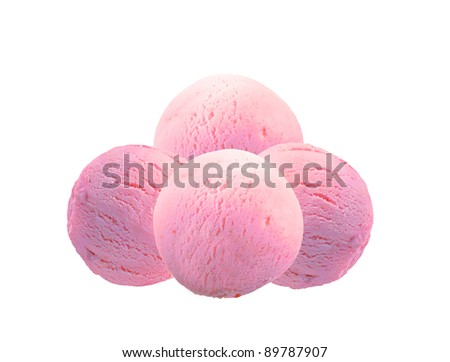 Scoop of fruit ice cream isolated on white background