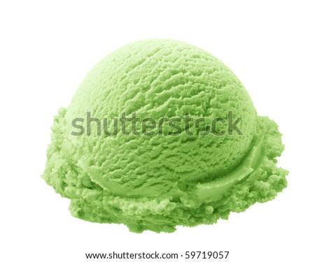 scoop of pistachio ice cream isolated on white background