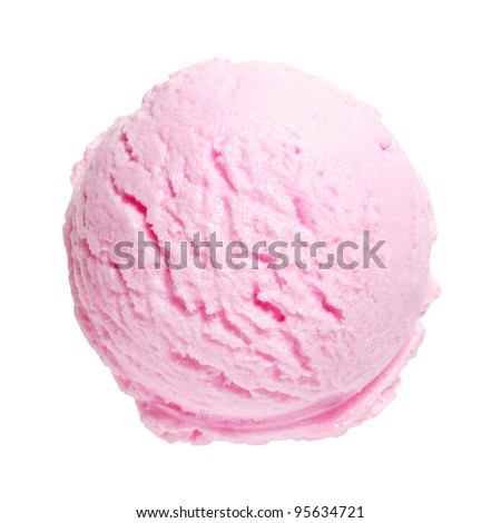 Scoop of strawberry ice cream on white background with clipping path