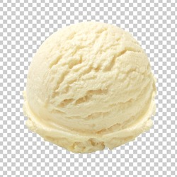 Scoop of vanilla ice cream from top view isolated on transparent background including clipping path