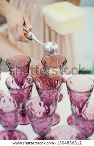 Scoops of berry sorbet or ice-cream