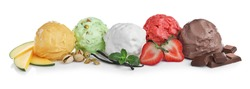 Scoops of different ice creams and ingredients on white background