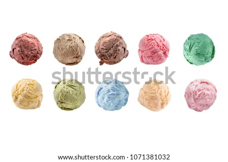 Scoops of ice cream isolated on white background Сток-фото ©