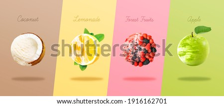 Scoops of ice cream with pieces of coconut, lemon, berries and apple. Сток-фото ©