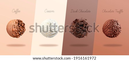 Scoops of ice cream with pieces of coffee, cream, dark chocolate and truffle