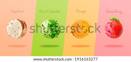 Scoops of ice cream with pieces of hazelnut, mint and chocolate, orange and strawberry.  Photo stock ©