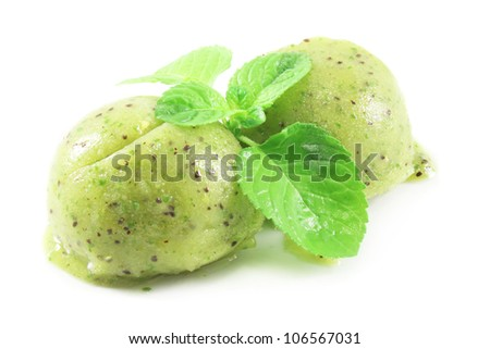 scoops of kiwi and mint  ice cream