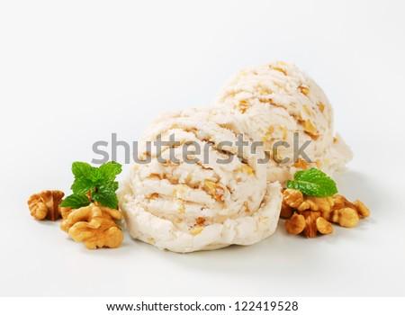 Scoops of walnut ice cream