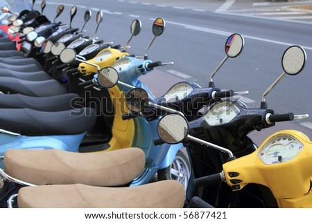 scooter motorbikes row many in rent store