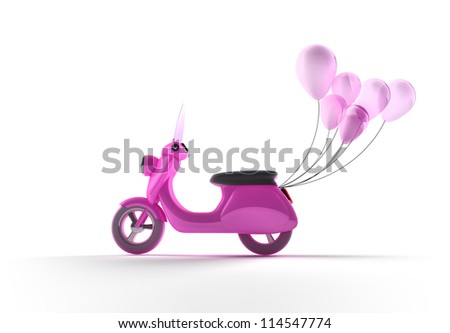 Scooter with Balloons - stock photo