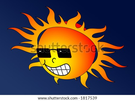 stock photo : Scorching sun grinning down with dark sunglasses.