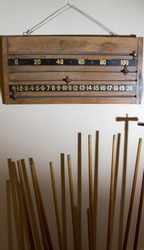 Scoreboard and cues for snooker, billiards or pool