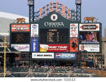 Scoreboard at Comerica Park - stock photo