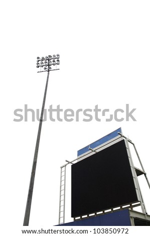 scoreboard in a stadium with a tall floodlight, isolated on white with clipping path in jpg.