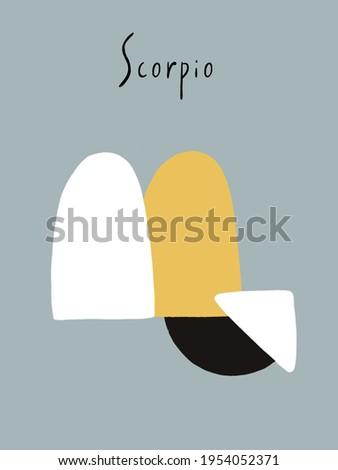 Scorpio abstract illustration. Scorpio horoscope symbol. Constellation set postcard.