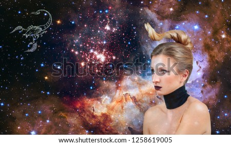 Scorpio Zodiac Sign. Astrology and horoscope concept, Beautiful woman Scorpio on the galaxy background
