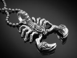 Scorpion Pendant - Stainless Steel - Black background