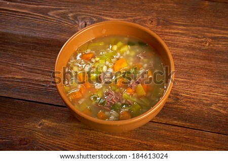 Scotch Broth Soup.farmhouse kitchen.old fashioned thrifty soup made from meat on the bon