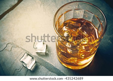Scotch on rock background, whisky shot drinks, Alcohol shots, Scotch and alcohol, alcoholic drinks,  alcohol glasses top view, alcohol glasses of whiskey, alcoholic drink with ice on a glass.