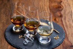 Scotch single malt and blended whisky tasting on distillery in Scotland close up
