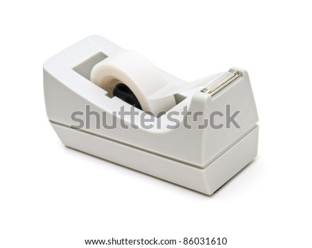 Scotch tape roller on white background