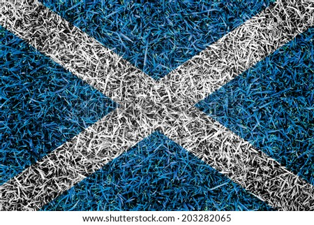 Scotland Flag color grass texture background concept